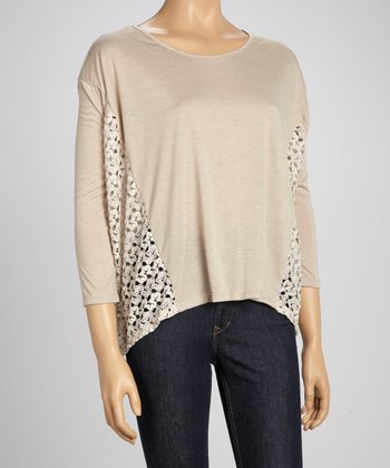 Taupe Side-Crocheted Sweater