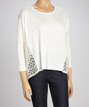 Ivory Side-Crocheted Sweater