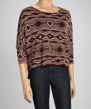 Burgundy Geometric Sweater