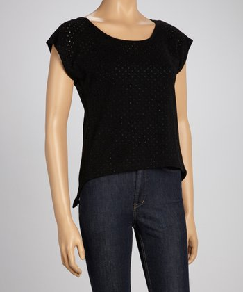 Black Mesh Sidetail Top