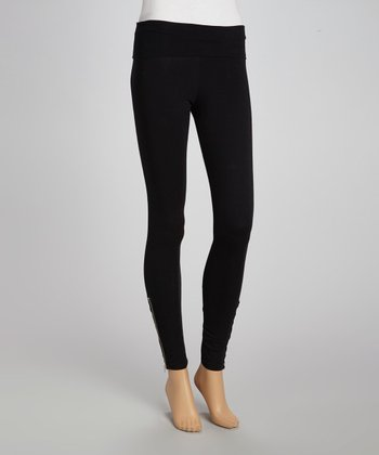 Black Ankle-Zip Leggings