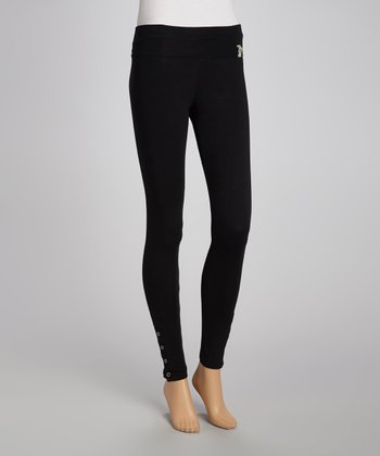 Black Ankle-Eyelet Leggings