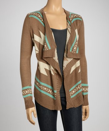 Mocha Tribal Open Cardigan