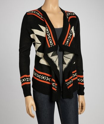 Black Tribal Open Cardigan