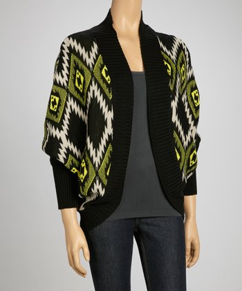 Black & Yellow Ikat Open Cardigan