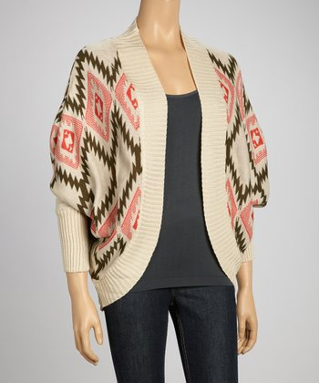 Taupe Red Ikat Open Cardigan