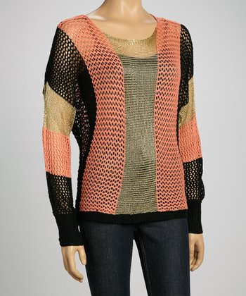 Coral & Gold Mesh Sweater