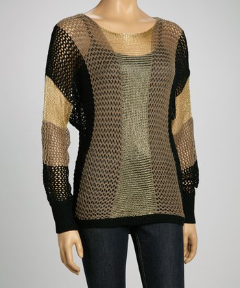 Beige & Gold Mesh Sweater