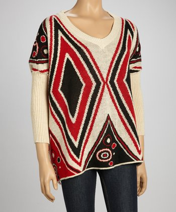 Red & Black Diamond Sidetail Sweater