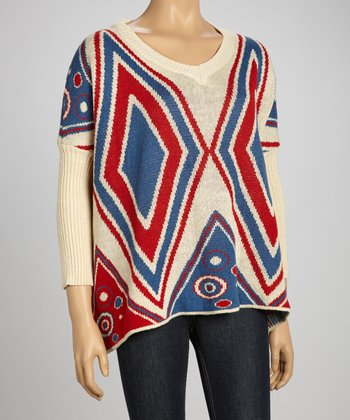 Red & Blue Diamond Sidetail Sweater