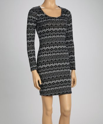Black & Gray Pixel Lattice Long-Sleeve Dress