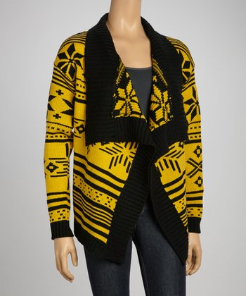 Mustard & Black Fair-Isle Open Cardigan