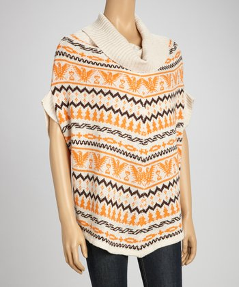 Orange Tribal Cowl Neck Sweater