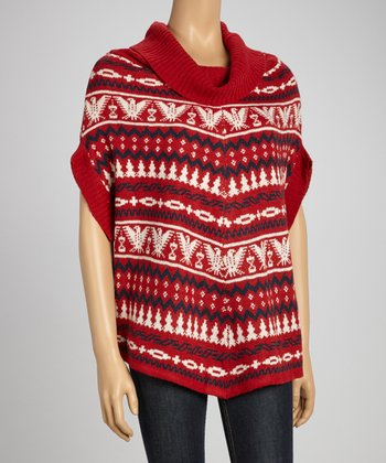 Red Tribal Cowl Neck Sweater