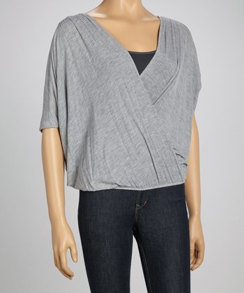 Gray Crossover Cardigan
