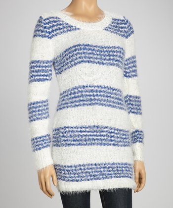Blue & White Stripe Shimmer Sweater