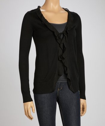 Black Ruffle Cardigan