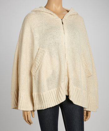 Beige Wool-Blend Hooded Cape