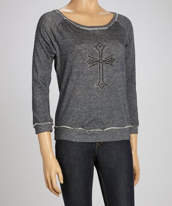 Dark Gray Embellished Scoop Neck Sweatshirt