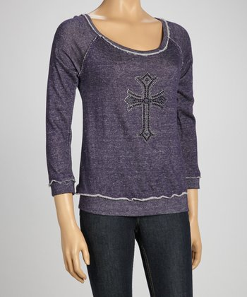 Purple Embellished Scoop Neck Sweatshirt