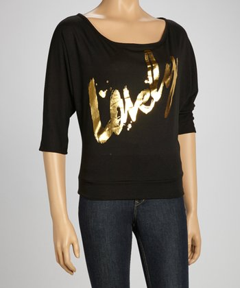 Black 'Lovely' Dolman Sweatshirt
