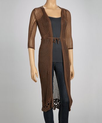 Brown Crocheted Duster