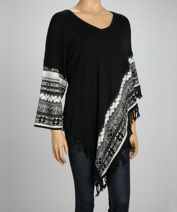 Black Tribal Poncho