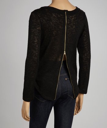 Black Back-Zipper Sweater