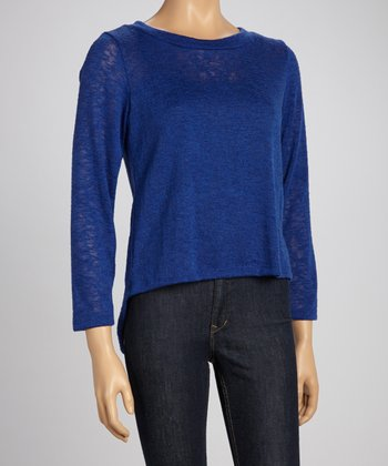 Blue Back-Zipper Sweater