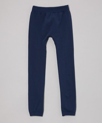 Navy Fleece Leggings - Girls