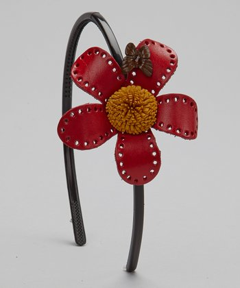 Red & Brown Leather Flower Headband