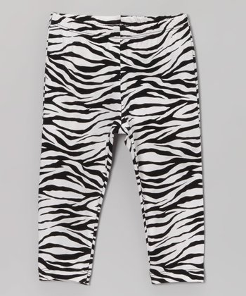 White Zebra Leggings - Infant, Toddler & Girls