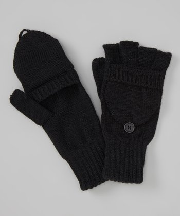 Jet Black Convertible Mittens