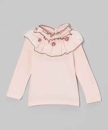 Pink Ruffle-Collar Long-Sleeve Top - Toddler & Girls