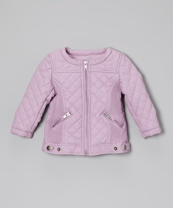 Lavender Faux Leather Motorcycle Jacket - Toddler & Girls