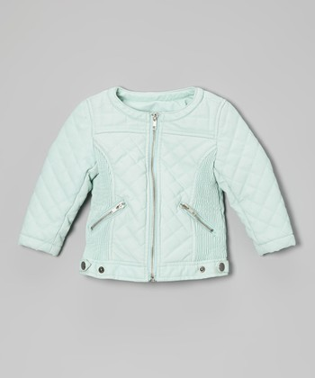 Aqua Faux Leather Motorcycle Jacket - Toddler & Girls