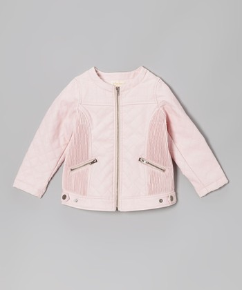 Pink Faux Leather Motorcycle Jacket - Toddler & Girls