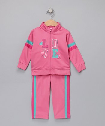 Pink & Aqua Track Jacket & Pants - Infant