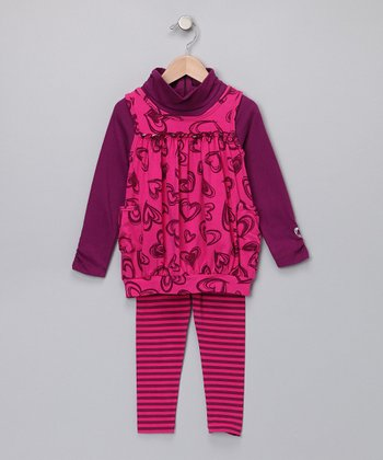 Hot Pink Heart Layered Tunic & Leggings - Girls