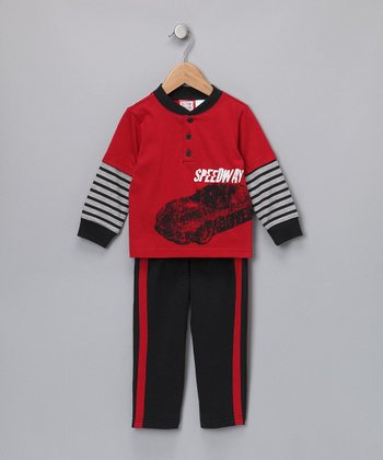 Red 'Speedway' Layered Tee & Pants
