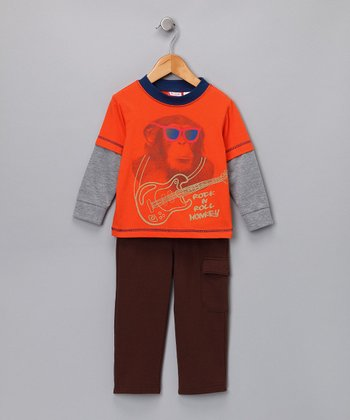Orange 'Rock N Roll Monkey' Layered Tee & Pants - Infant