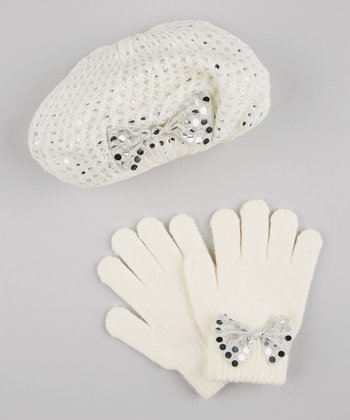 Cream Pointelle Knit Beret & Bow Gloves