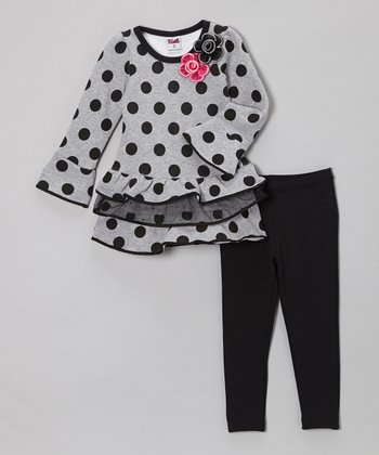 Gray Polka Dot Tunic & Black Leggings - Toddler & Girls
