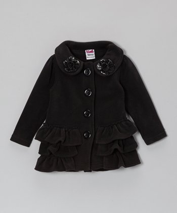 Black Ruffle Polar Fleece Coat - Toddler & Girls