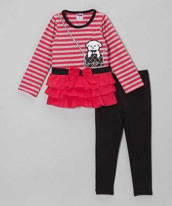 Pink Stripe Dog Tunic & Black Leggings - Toddler & Girls