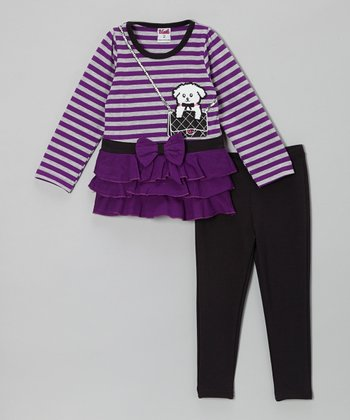 Purple Stripe Dog Tunic & Black Leggings - Toddler & Girls