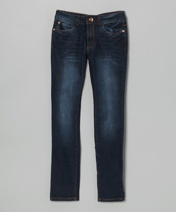 Dark Stone Wash Straight-Leg Jeans