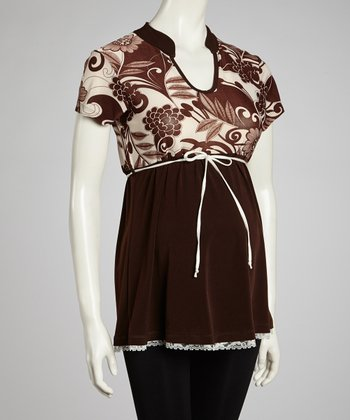 Brown & White Flower Maternity Top