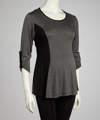 Gray & Black Maternity Top