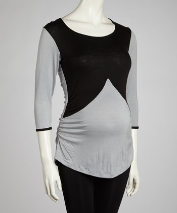 Silver & Black Maternity Top